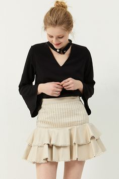 Emma Pintucked Skirt . Discover the latest 2017 #fashion trends online at storets.com  #skirt #ivoryskirt #pintuckedskirt
