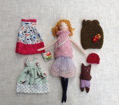 Dress up doll, Handmade cloth doll, doll set, doll with teddy bear, soft doll, dolls to dress, rag doll