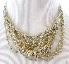 Boho Chic Swag Chain Bib Collar Necklace Faux Seed Pearl Retro Costume Jewelry  #Bib