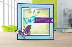 Butterfly embellished card made using the multi-functional die-crafting machine… Birthday Cards For Women, Embossing Machine, Paper Moon, Embossed Cards, Create And Craft, Kids Cards, Projects To Try, Card Making, Product Launch