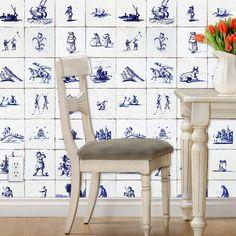 Delft Tile wallpaper!  dutch tile, blue and white, vintage look