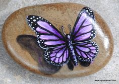 pretty purple butterfly painted on smooth river rock, rock art