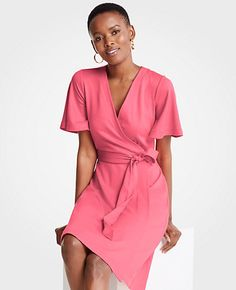 f9b5f75f10 Shop Ann Taylor for effortless style and everyday elegance. Our Flutter  Sleeve Wrap Dress is the perfect piece to add to your closet.
