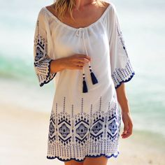 Beach Kaftans and Designer Beach Cover Ups by Seafolly and many more - Coco Bay Embroidered Kaftan – White The Effective Pictures We Offer You About outfits deportivos - Kaftan, Hot Outfits, Fashion Outfits, Beach Outfits, Beach Cover Ups, Hippie Outfits, Beach Dresses, Designer, Boho Fashion