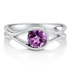 Natural Amethyst Gemstone Sterling Silver Solitaire Woven Ring 0.84 ct  from Berricle
