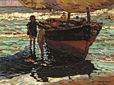 The Athenaeum - Niños en la Barca (Alberto Pla y Rubio - ) Canvas Art For Sale, Canvas Art Prints, Impressionist Artists, Visual Texture, Famous Artists, Art Reproductions, Handmade Art, Traditional Art, Art Gallery