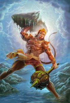 Lord Hanuman, oh yes hindu false god honuman with 8 pack abs, biceps, thies. where did he got those shorts! this is clesr foolish behaviour to worship this monkey.