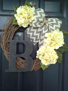 Front door wreath, door wreath, spring wreath, hydrangea wreath, yellow wreath, monogram wreath, grapevine, french country, burlap wreath by AutumnWrenDesigns on Etsy https://www.etsy.com/listing/186352649/front-door-wreath-door-wreath-spring