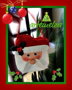 ARTEMELZA -  Arte e Artesanato: Bolsinha papai Noel