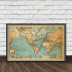 Map of the world from 1882, print. Original name : Chart Of The World On Mercators Projection. Published by Justus Perthes. ----------- Lots of