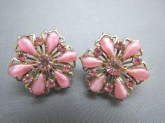 VTG Pink Rhinestone Earrings Tear Drop Art Glass Stones Gold Plated Flower Shape