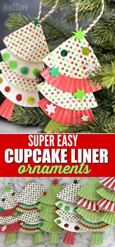 Here's how you can EASILY turn cupcake liners into the cutest Christmas tree ornaments with the kids this year!