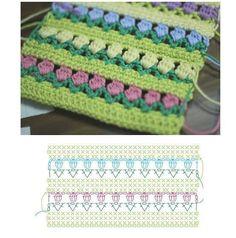 Crochet Tulip Stitch - Chart ❥ 4U // hf
