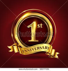 Celebrating 1st golden anniversary, one year birthday logo celebration with gold ring and golden ribbon.