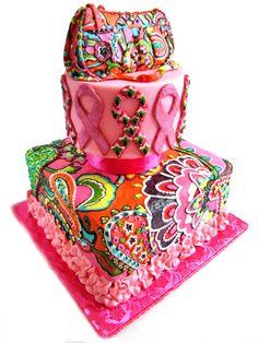 Breast Cancer Awareness Tiered Cake   Vera Bradley