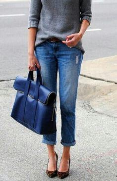 chic boyfriend jeans, sweater, leopard heels, love!!