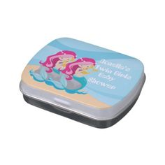 #shower - #Twin girls add name mermaid baby shower favor candy tin
