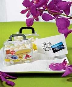 Destination weddings has been the latest trend this season. So we are presenting endless possibilities, pack these versatile mini travel suitcase favor containers with your personal favorite . . .