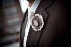Boutonnieres made from vintage tweed suit and buttons