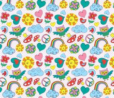 retro_rainbow_fabric-ed fabric by heidiryancreative on Spoonflower - custom fabric