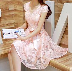 Lace chiffon dress