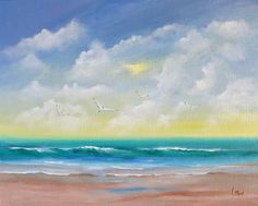 Original Fine Art Seascape Painting, Seagulls, Clouds and Ocean, Original and Handpainted on Gallery Wrapped Canvas, 11 x 14