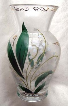 LENOX Handpainted Lilies of the Valley Glass Vase