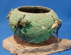 Zuni Indian Pottery: Turquoise-Covered Fetish Bowl w/ 4 Wolf Fetishes  c.1970