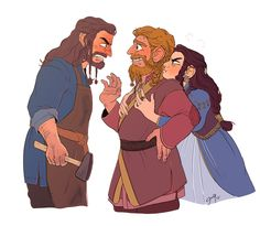 Thorin being the overly protective brother meets Dis future husband, Vili,for the first time and he is not too pleased.Thorin: You're courting my sister?!Dis: Brother, please! Put that hammer down!Vili: G-good afternoon, s-sir.