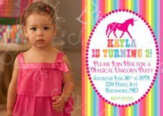 Photo Unicorn Birthday Party Custom Printable Invitation by slindb, $15.00