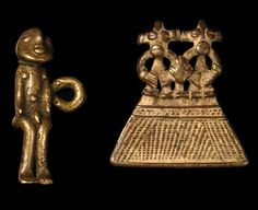 Africa | Two pendants from Burkina Faso; right is from the Lobi people and on the left from the Bobo people | Brass | Est. 620 - 900€ for the set
