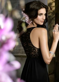 Black chiffon modified A-line gown, V-neckline, draped empire bodice, Black lace racer back, bridesmaid dress.