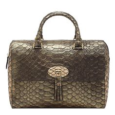 well hello Mrs Mulberry......MULBERRY Del Rey metallic snake-print bag