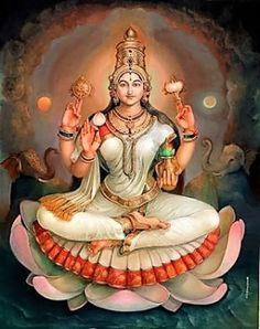 """☀ SHRI LAKSHMI DEVI ॐ ☀ """"I offer my obeisances unto the lotus-born mother of all beings, unto Sri the Goddess of fortune, having full-blown lotus-like eyes, and reposing in the bosom of Vishnu. Saraswati Goddess, Shiva Shakti, Goddess Art, Goddess Lakshmi, Lord Saraswati, Durga Images, Lakshmi Images, Lord Krishna Images, Mysore Painting"""