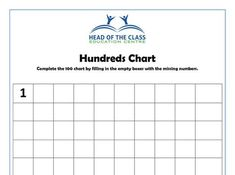 Hundreds Chart, Education Center, Worksheets, Literacy Centers, Countertops