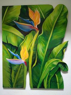 Wall Murals Painted Inspiration Canvases Ideas For 2019 Mural Painting, Mural Art, Watercolor Paintings, Wall Murals, Tropical Art, Tropical Forest, Tree Wall Art, Painted Leaves, Plant Illustration