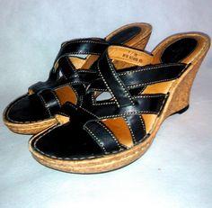 ~~~ BORN Shoes ~ Black Leather Wedge Sandals ~  Euro Size 38, US 7 M ~~~ #Born #PlatformsWedges