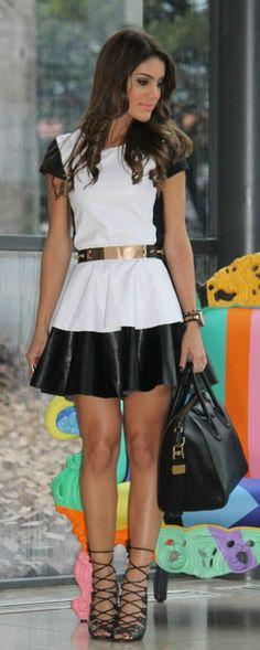 White & Black Dress With Gold Belt