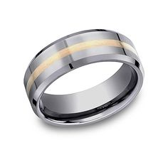 Titanium 14k Yellow Inlay Flat 8mm Wedding Ring Band Size 10.00 Precious Metal To Have Both The Quality Of Tenacity And Hardness Engagement & Wedding Bridal & Wedding Party Jewelry