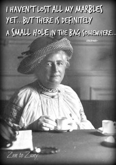 I haven't lost all my marbles yet, but there is definitely a small hole in the bag somewhere. Great Quotes, Funny Quotes, Funny Memes, Hilarious, Funny Vintage Photos, Vintage Humor, Aging Gracefully Quotes, Aging Quotes, Empowering Quotes