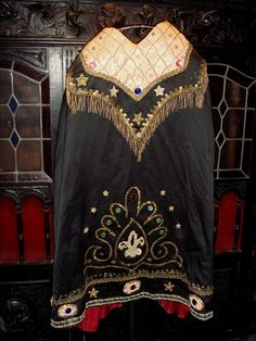 SPECTACULAR ROMANIAN GYPSY Outfit, Authentic Antique Cape, Blouse, Skirt, Metallic Fringe and Appliques, old Sequins $895