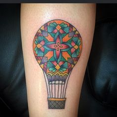 hot air balloon, stained glass style by Stevie Jean  #steviejeanflowers #hotairballoontattoo