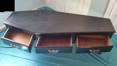 Coffin Coffee Table w/ Three Drawers