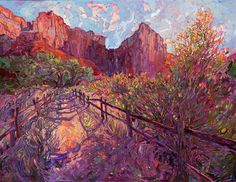 Zion National Park museum oil painting by modern impressionism painter Erin Hanson