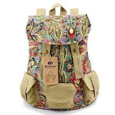 Canvas Schulrucksäcke Rucksäcke mit Blumen Bedruckt für Shopping/Schule/17 Zoll Laptop