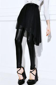 Assymetric Skirt Black Lenngings