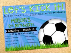 Personalized soccer birthday party invitation.