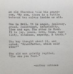 Cherokee Großvater und Wolf-Zitat auf von WhiteCellarDoor auf Etsy