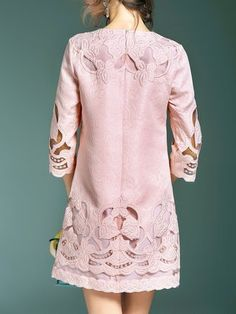 Embroidered A-line 3/4 Sleeve Cotton-blend Girly Mini Dress