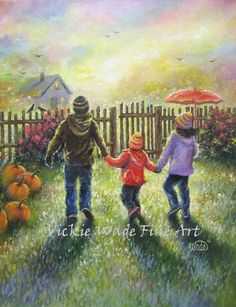 Two Brothers Sister Art Print November Rain autumn paintings pumpkins two boys one girl, umbrella fall wall art, Vickie Wade art